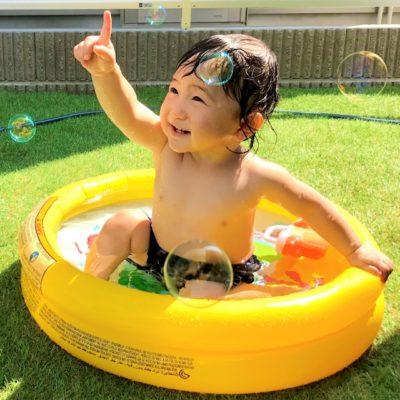 水遊び 0歳児 シャボン玉