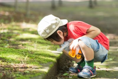 子供 公園 持ち物 地面を覗く男の子