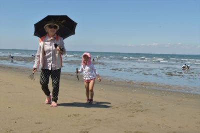 潮干狩り 1歳半 散歩