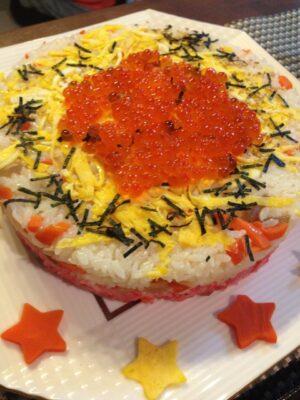 ひな祭りパーティー メニュー(料理)(献立)ちらし寿司ケーキ