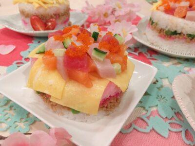 ひな祭りご飯 子供(向け)(料理)(メニュー)(レシピ)(人気)ちらし寿司ケーキ